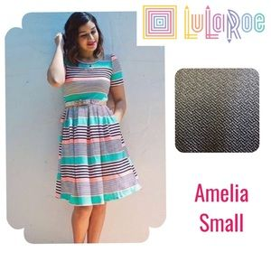LulaRoe shiny gold Amelia dressy dress